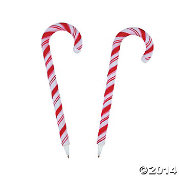 Candy Cane Pens - 12 Pk