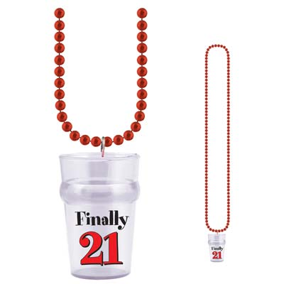 Beads With Finally 21 Shot Glass