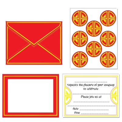 Chinese Invitations & Seals 8 Pk