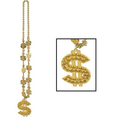 Casino Beaded Gold Necklace with $ Charm