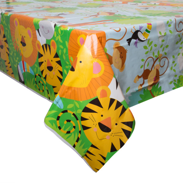 60% OFF: Jungle Animal Printed Plastic Tablecover