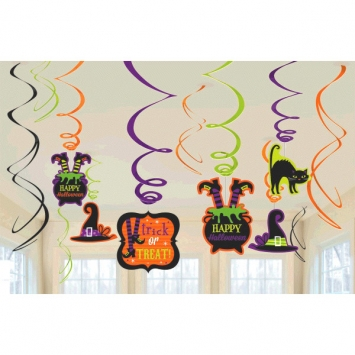 50% Off: Witch Hanging Swirl Decorations - 12 Pk