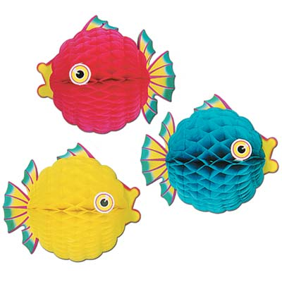 "12"" Tissue Bubble Fish - Assorted Colors"