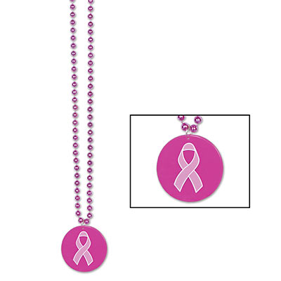Beads With Pink Ribbon Medallion