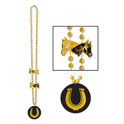 Derby Day Beads With Horseshoe Medallion