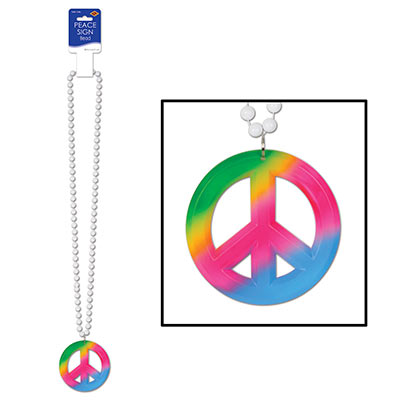 Beads With Peace Sign Medallion