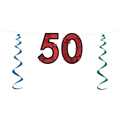 50th Birthday Glittered Streamer