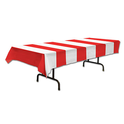 Red & White BIG Stripes Plastic Tablecover