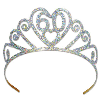 60th Birthday Glittered Metal Tiara