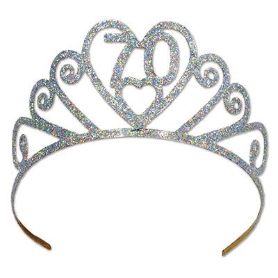 70th Birthday Glittered Metal Tiara