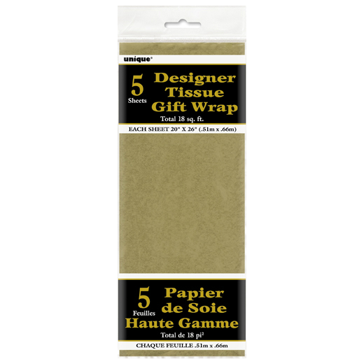 60% OFF: Metallic Gold Tissue Paper Sheets - 5 Pk