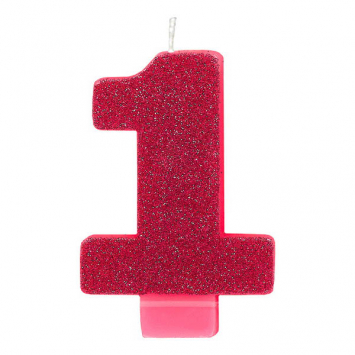 Number 1 Pink BIG Glitter Candle