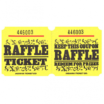 Yellow Large Raffle Tickets - 1000 Roll