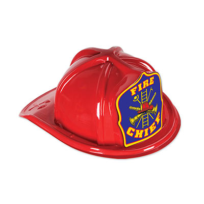 Red Plastic Fire Chief Hat With Blue Crest