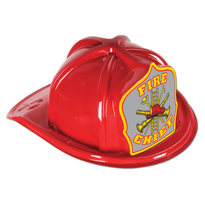 Red Plastic Fire Chief Hat With Silver Crest