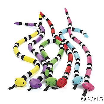 Plush Bright 4 Foot Long Snakes - 12 Pack
