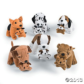 Dogs Plush Holding Puppies 6 Pk
