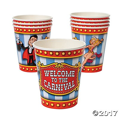 Carnival Party Cups 8 Pk - ONLY 8 LEFT!