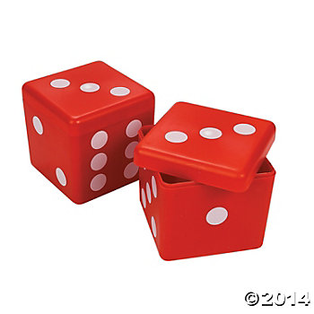 Casino Plastic Dice Favor Containers - 12 Pk