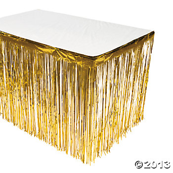 Gold Foil Metallic Fringe Table Skirt