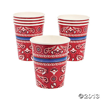 *Western Party Supplies: Bandana Cups 8 Pk