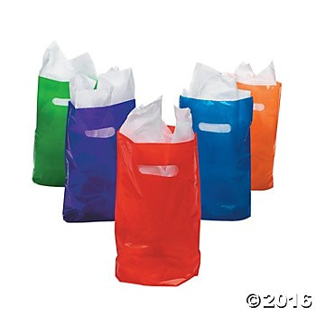 Assorted Colours Plastic Bags - 50 Pk