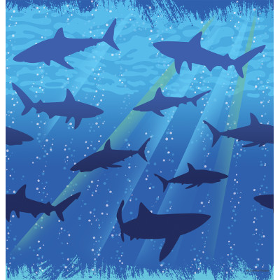 Shark Printed Rectangular Plastic Tablecover