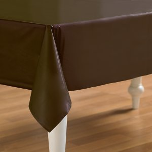 Brown Plastic Table Cover Rectangle