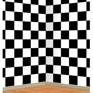 Black & White Checkered Wall Backdrop 30 ft.