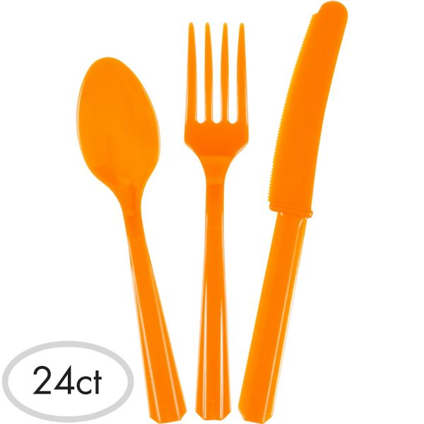 Orange Assorted Plastic Cutlery - 24 Pk