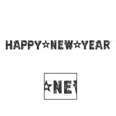 includes one glittered happy new year banner 85 by 8 black and white banner