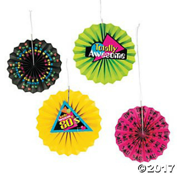 1980's Party Tissue Paper Hanging Fans - 12pk