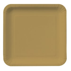 Gold Square Dinner Plates Big 14 Pack