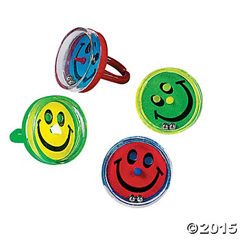 Smile Face Pill Puzzle Rings - 72 Pack