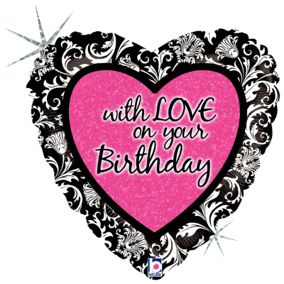 "With Love Birthday Damask 18"" Foil Balloon"