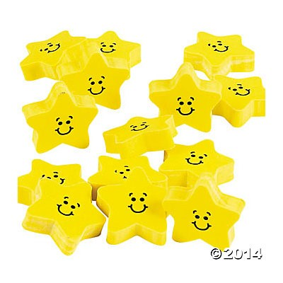 Smile Face Star Erasers - 24pk