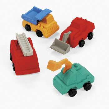 Construction Party Supplies: Truck Erasers 4 Pk