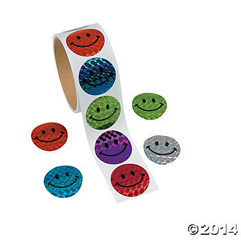 **Laser Smile Face Stickers 100 Pk
