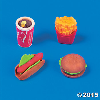 Fast Food Erasers - 48 Pack