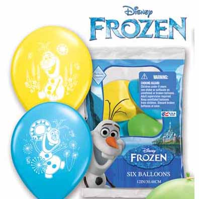 "Frozen Olaf 12"" Assorted Latex Balloons - 6 Pk"