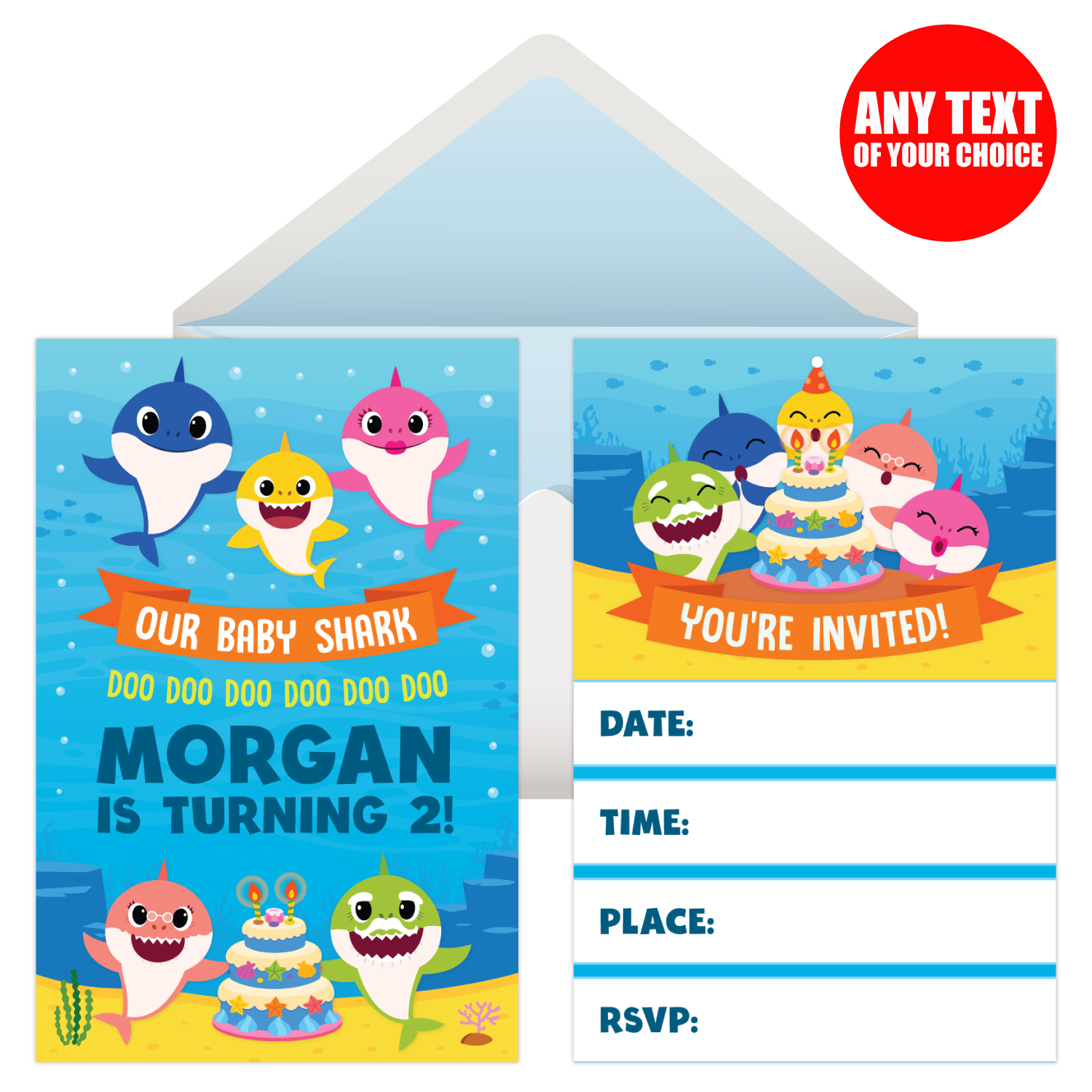 Baby Shark Personalized Invitations 8 Pk Party Supplies Canada