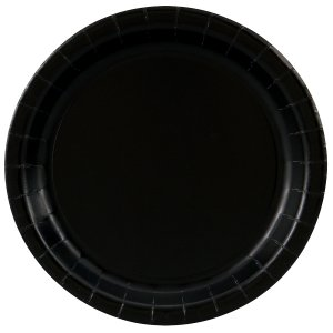 Black Round Dessert Plates Big 20 Pack