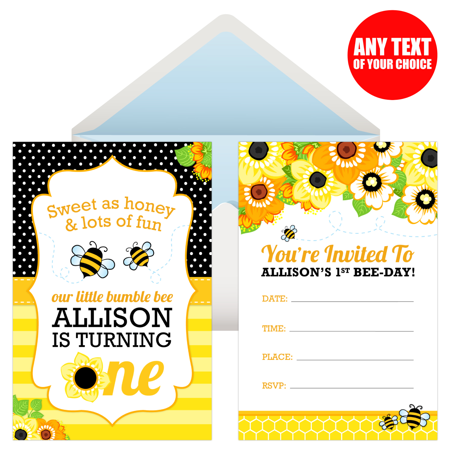 Bee 1st Birthday PERSONALIZED Invitations
