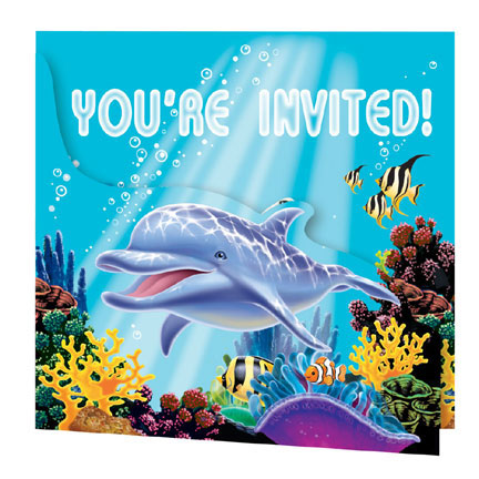 Ocean Party - Invites and Envelopes 8 Pk