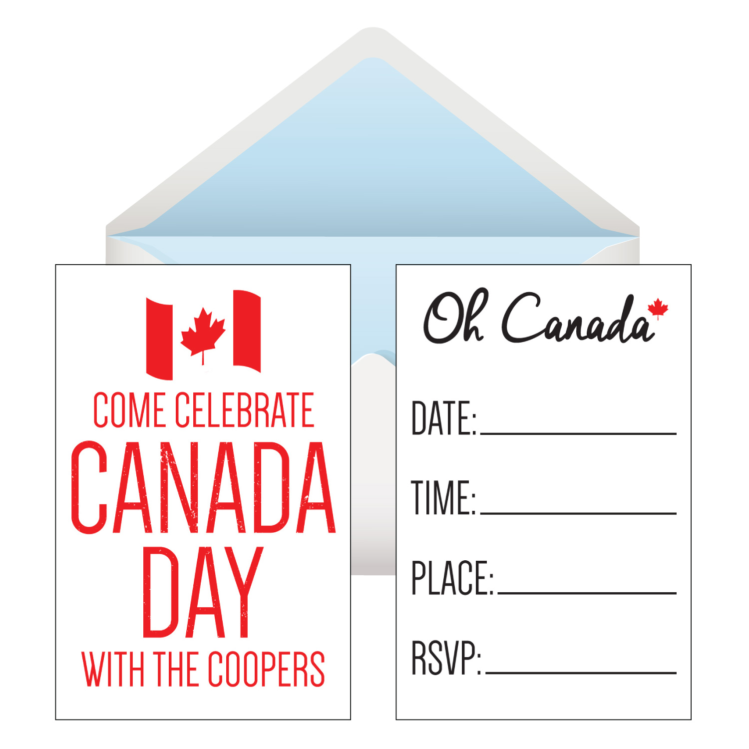 Canada Day PERSONALIZED Invites w/Envelopes - 8 Pk
