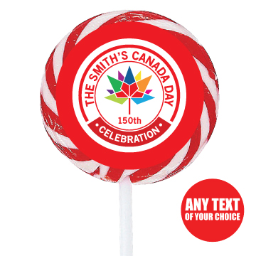 Canada Day PERSONALIZED 150 Yrs Large Lollipops - 12 Pk