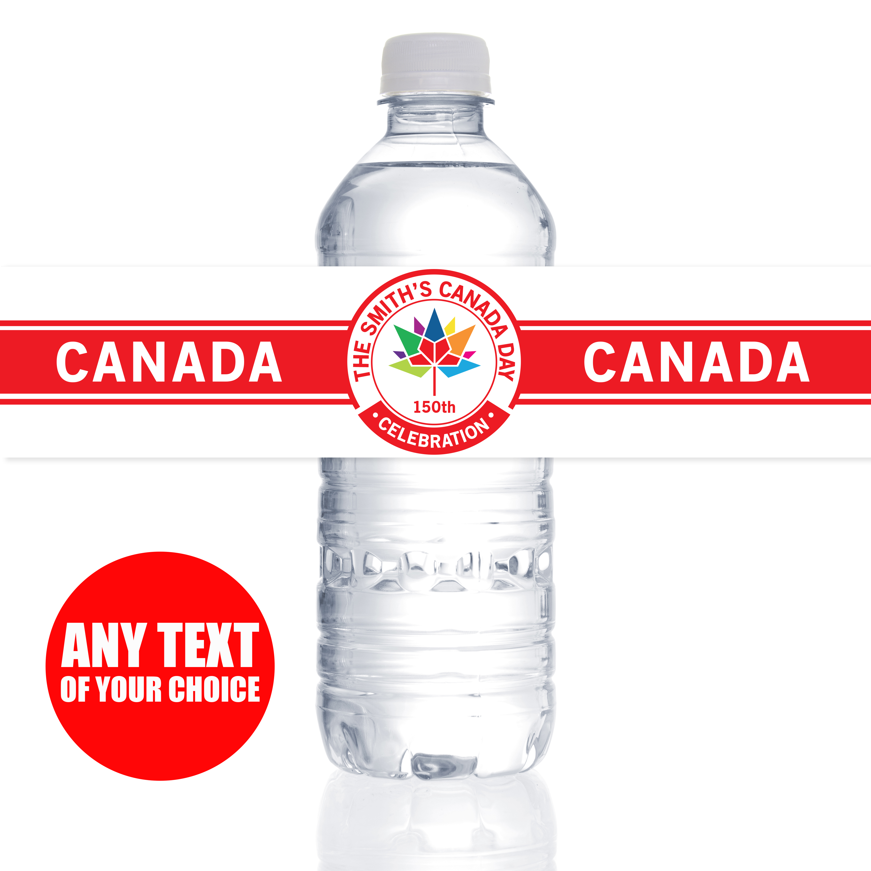 Canada Day PERSONALIZED 150 Yrs Bottle Labels - 5 Pk