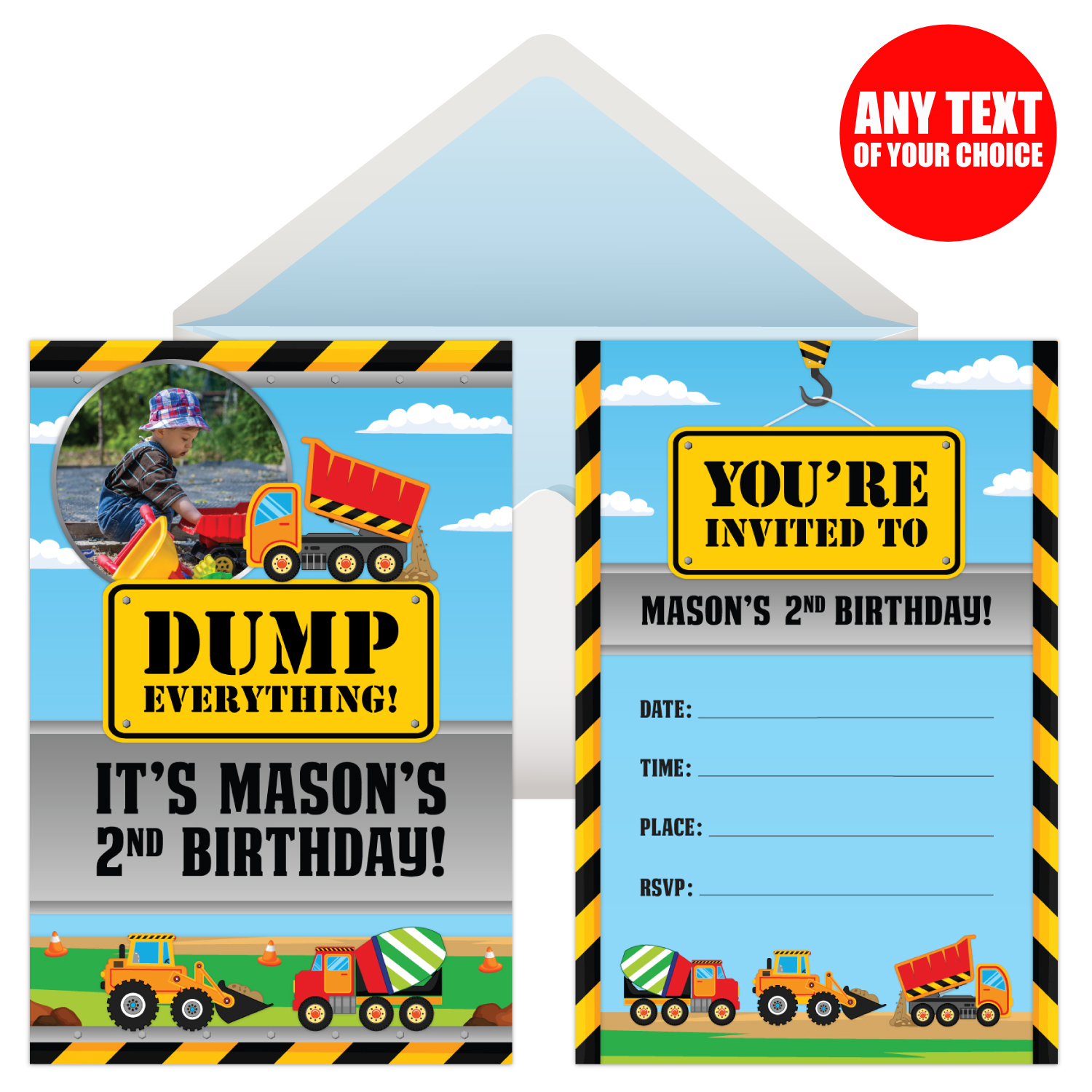 Construction pals personalized photo invitations 8 pk party please send a high quality photo to ordersopenaparty with your order number in the subject line stopboris Choice Image
