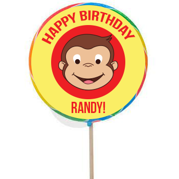 Monkey PERSONALIZED Large Lollipops - 12 Pack