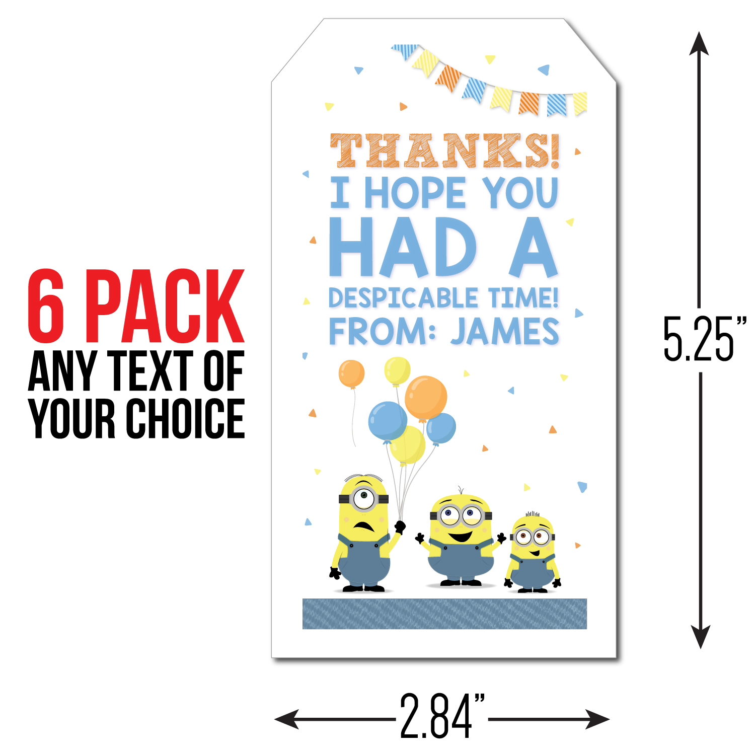 Despicable Me Party: PERSONALIZED Thank You Tags - 6 Pk